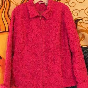 Laura Ashley pink cotton blend jacket. Med.